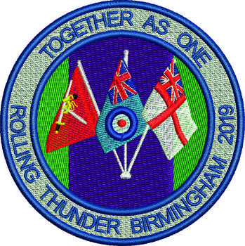 Rolling Thunder Birmingham 2019 Together as one Embroidered Badge
